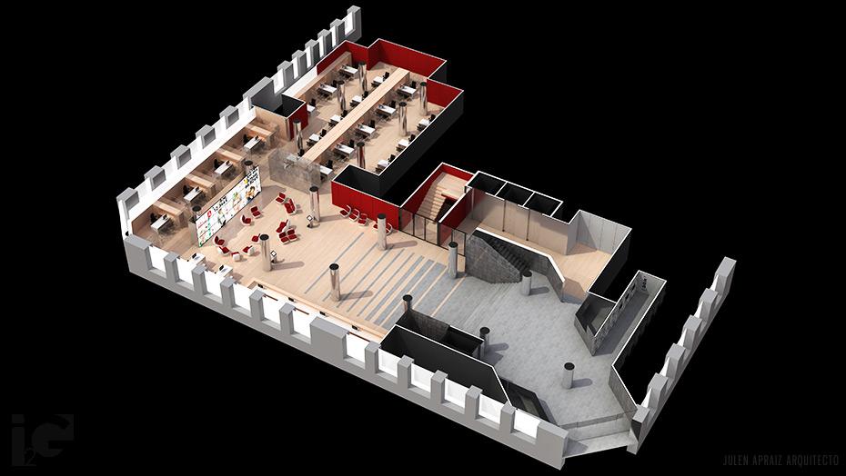 Infografía 3D | Sucursal Central BBK Bilbao vista aérea