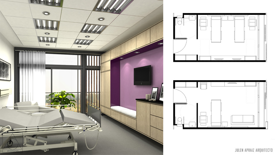 Infografía 3D | Hospital Subagudos Eibar | Habitaciones